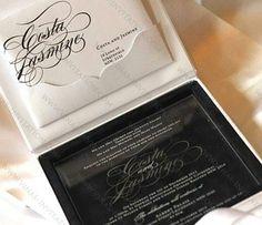 Vinas invitation . Acrylic invitation. Clear perspex invitation. Hardbox invitation. Suede invitation. Wedding invitation. Sydney wedding. Australia wedding. (Courtesy of Costa & Jasmine) Any questions please visit our website at www.vinas-invitation.com