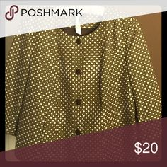"""Woman's 3/4 sleeve Jacket 🎉🎉PRICE DROP🎉🎉 Jacket length is 23"""" from the top of the neckline. Interlocking weave pattern using brown cream & gold. Classic piece. Looks great on. Cotton shell and polyester lining.  Can be worn as jacket or top. Talbots Jackets & Coats Blazers"""
