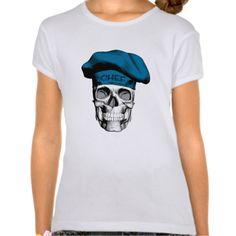 Skull Wearing Blue Chef Hat Tee Shirt