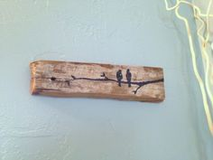 Love Birds on Branch~ Rustic Upcycled Barn board wood Wall Decor- Reclaimed Wood sign- Shabby chic Decor, Black Birds on White washed board on Etsy, $17.00