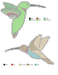 Plastic canvas Hummingbird Set 4/4 enlarge on photo shop.Cut out hummingbirds…