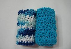 Crocheted Cotton Dishcloths Turquoise Blue White by TimeForCrochet, $6.00