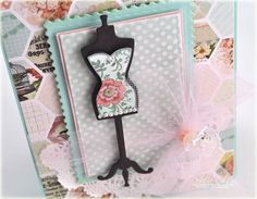Close up of Debbie Olson's card using Ooh La La French Frills Stamps and French Frills Dies.