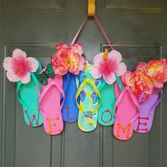 How to Make Your Own Awesome Flip Flop Welcome Summer Wreath!