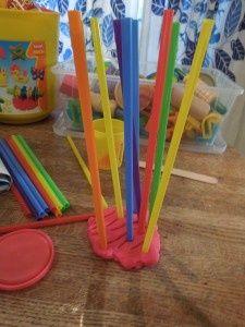 straw and playdough art