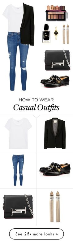 """""""casual elegance"""" by candynena228 on Polyvore featuring Movado, Splendid, Current/Elliott, L'Agence, Christian Louboutin, Tod's and Giorgio Armani"""