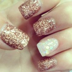 Simple brown and white glitter nails by Πωλίνα Σ.