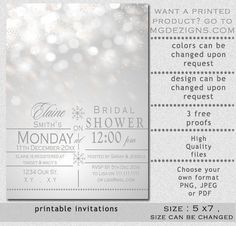 Printable Silver Snowflakes Winter Bridal Shower by MGDezigns, $15.00