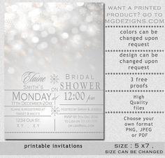 Printable Silver Snowflakes Winter Bridal Shower Invites