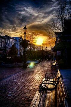 Sunset on the city street
