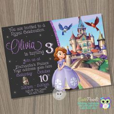 Sofia the first invitation, Princess Sofia Invitation, Princess Birthday Invitation, Sofia the first birthday, Sofia the first party by CutePixels. ★ Matching Party Decorations http://etsy.me/1JvyH9D and Thank You Cards http://etsy.me/1DSqs3D  εїз WHAT IS IT? ☀ This listing is for an Invitation you will receive as a digital file (JPEG) for you to print or send by mail. ☀ It comes as shown on photos, personalized with your details and wording. For design modifications, bleed lines, different…