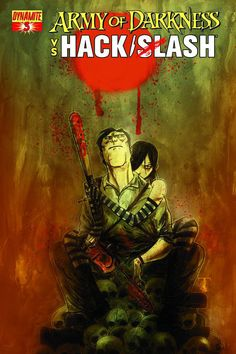 ARMY OF DARKNESS / HACK/SLASH #3  Written by Tim Seeley, art by Daniel Leister, covers by Stefano Caselli, Tim Seeley, Ben Templesmith, Ken Haeser. 32 pages, $3.99.  Cassie and Ash are hunted by an elite squad of mercenaries known as The Dead Soldiers. But these aren't just any old killers… they're half-deadite! How will our heroes survive? How about a gory Wild West showdown, full of creative uses for mini-Ashes and tiny-Cassies?  SEPTEMBER 2013