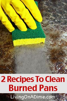 2 Recipes To Clean Burned Pots and Pans (Recipe #1 worked to get burnt cooking spray off of our ceramic pans!  It consists of water, 1T baking soda, 2-3T hydrogen peroxide & 1-2 drops of dish soap; boil 10-15 minutes then scrub with non-metallic scrubber sponge).