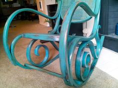 Refurnished shabby chic Vintage Thonet Style Cane Bentwood Rocking Chair  sanded primed-painted, distressed, and varnished.