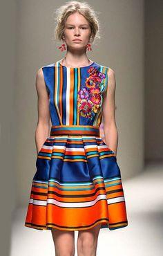Blue Yellow Sleeveless Striped Floral Dress