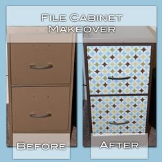 spray paint ugly file cabinet to match brown in contact paper. no more ugly colored filing cabinets