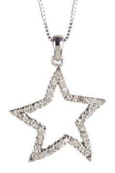 14K White Gold Diamond Star Pendant Necklace - 0.16 ctw
