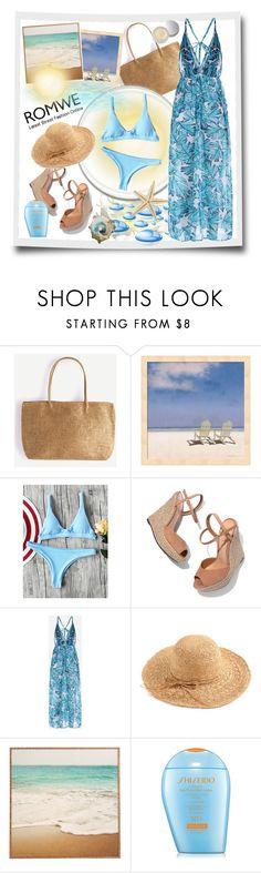"""Plain Textured Triangle Bikini Set - Romwe"" by carola-corana ❤ liked on Polyvore featuring Schutz, Shiseido and SUQQU"
