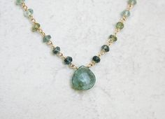 Moss aquamarine pendant necklace | March Birthstone | Aqua pendant necklace | Aquamarine