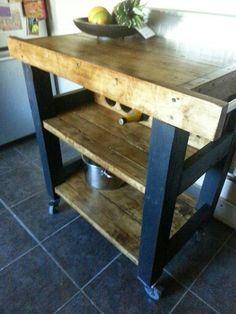 Handmade rustic kitchen island trolley. Graphite grey reclaimed wood.