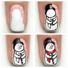 Tutorial - Snowman -Indigo Nails Lab - Find more Inspiration at www.indigo-nails.com #Nail #Christmas #Mani