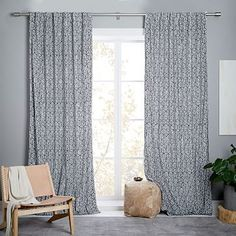 Blocks Printed Velvet Curtain + Blackout Lining - Iron #westelm Sale $69