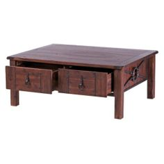 Beckett Acacia Wood Coffee Table 4 Drawer by New Rustic. $1218.99. Features 4 storage drawers. Transitional styled coffee table. Dimensions: 48W x 38.5D x 19.5H in.. Natural finish with dark wood tone. Crafted from solid wood with metal accents. About New Rustics Furniture Company Award-winning New Rustics is an innovative company founded by designers and furniture experts. A mix of old and new world influences, New Rustics presents collections that fe...
