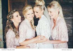 Adorable lace robes for the bride and bridesmaids. Country Sunshine Wedding at Mooi River, KZN | Real weddings | The Pretty Blog