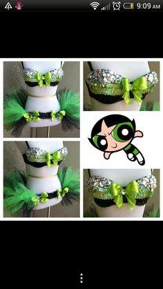 The Powerpuff Girls -Buttercup - Electric Laundry Rave Festival Outfits, Edm Festival, Rave Costumes, Cool Costumes, Halloween Costumes For Girls, Halloween Dance, Rave Gear, Rave Makeup, Edm Outfits