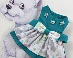 Teal Dog Dress - XS, S - Pet Party Outfit, Custom Dog Dresses, Designer Dog Dress,Wedding Dog Clothes, Couture Dog Dress, Party Dog Dress