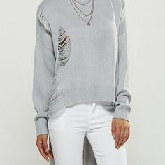 Long Sleeve High Low Sweater  $45.00    Type: Pullovers  Material: Polyester  Sleeve Length: Full  Collar: Jewel Neck  Style: Fashion  Pattern Type: Solid  Season: Fall,Spring,Winter  Weight: 0.405kg  Package Contents: 1 x Sweater