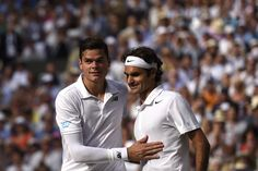 Wimbledon, 2014. Milos Raonic and Roger Federer after their match on Centre Court. Federer advanced to his ninth final with a 6.4, 6-4, 6-4 victory - Florian Eisele/AELTC
