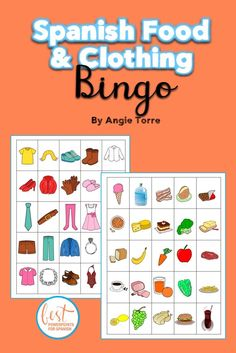 Do you need more comprehensible input for your Spanish Clothing and Food Lessons? My students begged me to play Bingo again. It's a great way to provide repetition in context because the scripts use the vocabulary in complete sentences.  39 Bingo Cards, Student Guide and Scripts. Check it out!