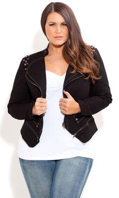 City Chic - STUDDED MILITARY JACKET - Women's plus size fashion