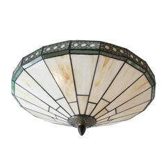 Green Mission Pattern 16 Inch Flush Mount Ceiling Light in Tiffany Stained Glass Style