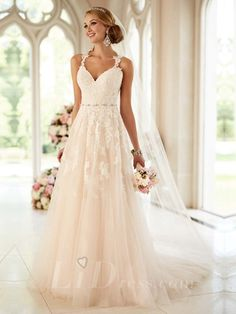 Romantic Straps Sweetheart A-line Wedding Dress with Lace Illusion Back
