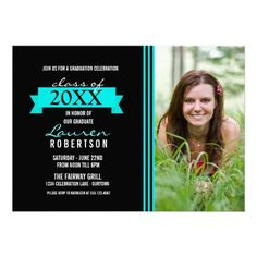 Banner Photo Aqua Grad Invitations Graduation invite