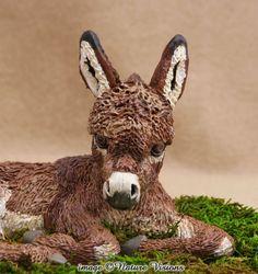 Donkey Art Sculpture Polymer Clay Animal Figure OOAK Miniature Donkey Figurine