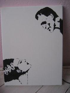 Bride of Frankenstein and Frankenstein Graffiti Stencil Art Painting. $20.00, via Etsy.