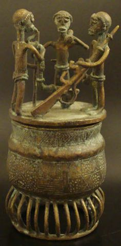 """Tribal Art Treasures Metal Bronze Vessel #551These fine bronze vessels are also known as """"kuduo"""" and were used in funerals or to hold valuable or important items. Some kuduo were buried with the owner, and some of them were also placed in shrine rooms."""
