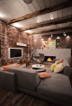 Amazing Home Stone Interior Design - Decoration Apartment Interior, Home Interior, Interior Design Living Room, Living Room Designs, Living Room Decor, Interior Colors, Industrial Restaurant, Industrial House, Industrial Interiors