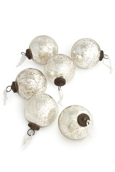 Set Of 6 Silver and white mercury Glass Baubles from Next UK