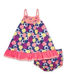 Take a look at the Navy & Pink Floral Ruffle A-Line Dress & Diaper Cover - Infant on #zulily today!