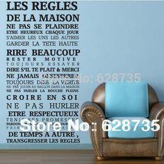 """Pas cher Version française """"Maison règles"""" citation de mur autocollants décor à…"""