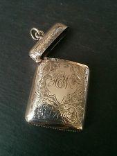 Antique Solid Silver Vesta Case / Match Safe of Art Nouveau Scroll Style