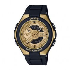 d727df0559a6 Casio Baby-G Gold Dial Black Rubber Strap Ladies  Watch
