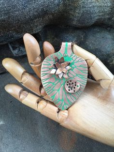 Copper lotus leaf with flower and pod / Acid by EarthArtistry
