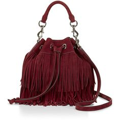 Rebecca Minkoff Suede Fringe Fiona Bucket ($345) ❤ liked on Polyvore featuring bags, handbags, shoulder bags, red handbags, bucket purse, bucket handbags, top handle handbags and drawstring purse