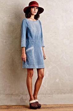 NWOT $148 Anthropologie AG Jeans Dress Denimknit Cocoon stretch light wash S #AGJeans #cocoondress #versatile