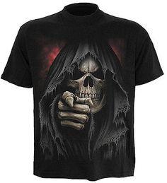 Spiral Direct FINGER OF DEATH t-shirt/tee/top, reaper/tattoo/gothic/horror/biker
